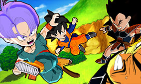 Trunks and Goten fighting Nappa and Radditz