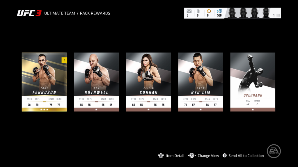 Opening card packs unlocks new fighters and other items in Ultimate Team